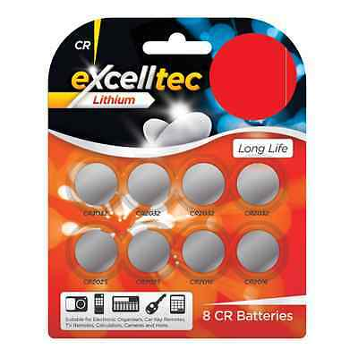 Pack Of 8 Excelltec Lithium Assorted Button Cell Batteries CR2032/CR2025/CR2016