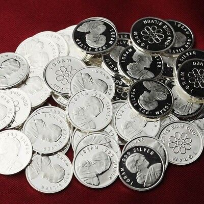 Lot of 30 - 1g Sacagawea .999 Fine Silver Round Bar Bullion / Mini Coin oz RE323