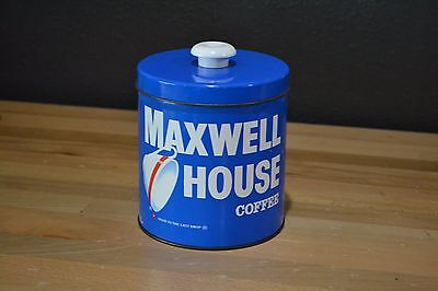 Vintage Maxwell House Coffee Blue Metal Can with Lid