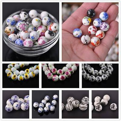 10pcs 12mm Flowers Pattern Ceramic Porcelain Loose Spacer Colorized Beads