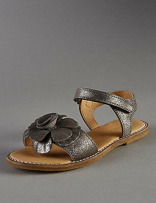 M&S Girls Leather Corsage Sandals 6/7/8/9/10  RRP £28-£30
