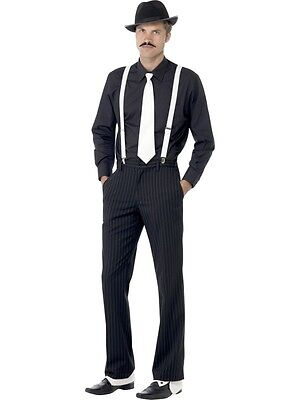 Adult Mens Gangster Instant Kit Braces/tie/hat/spats/tash 1920's Fancy Dress