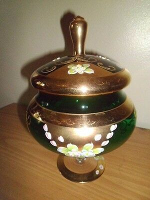 Murano Green & Gold Gilt Compote With Hand Painted Flowers;Multi Color;Glass;Lid