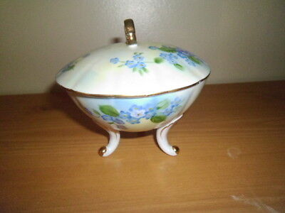Vintage Lefton China 3 Footed Candy Dish Hand Painted Flowers/Leaves;With Lid