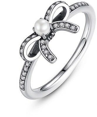 Sparkling bow ring with white pearl genuine sterling silver 925