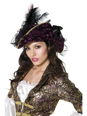 Adult Womens Purple Fever Marauding Pirate Hat Smiffys Fever Fancy Dress