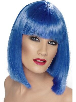New Adult Women Blue Glam Wig Costume Accessory