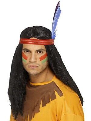 New Adult Men Black Indian Brave Wig Costume Accessory