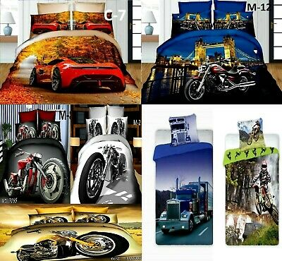 3D Effect New Duvet Quilt Cover Car Motorbike Bedding Set UK Pillow Case