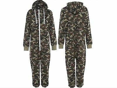 Kids Army Camo Print Hooded Jumpsuit Camouflage All In One Boy Girl Fleece 7-13