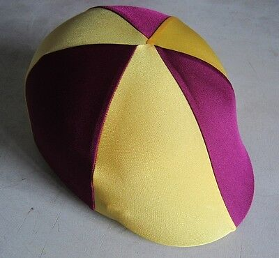 Horse Helmet Cover ALL AUSTRALIAN MADE Burgundy & Yellow Any size you need