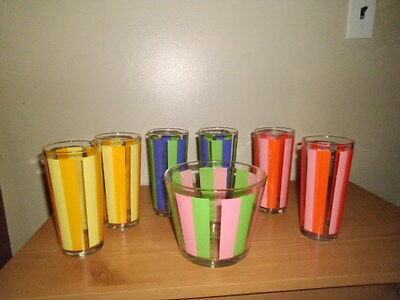 1940 Striped Tumblers and Ice Bucket;6 12oz. Tumblers;Multi Color;Excellent con.