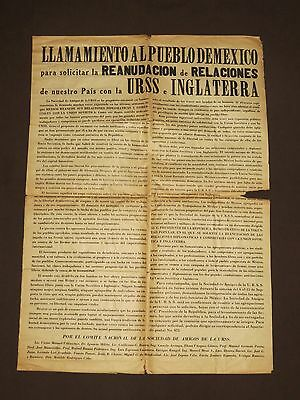 Mexican Proclamation WWII Mexico [1941] USSR England Hitler Fascism