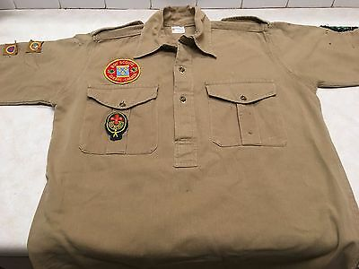 Vintage Shirt w/Rover Scout & Canadian Proficiency Badges
