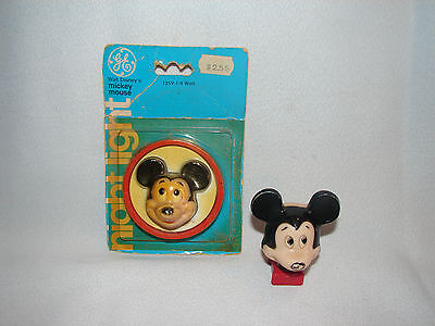 Pair of Vintage 1977 Mickey Mouse Night Lights  One General Electric in package