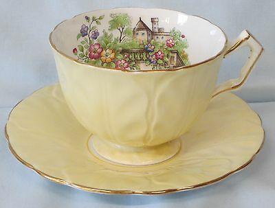 Aynsley Cup & Saucer Yellow with Leaf Pattern Featuring a Manor