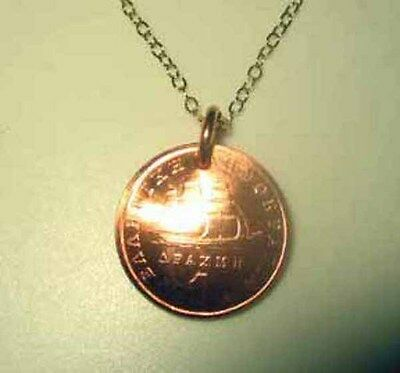 Greek copper ship uncirculated coin necklace-nicely domed!