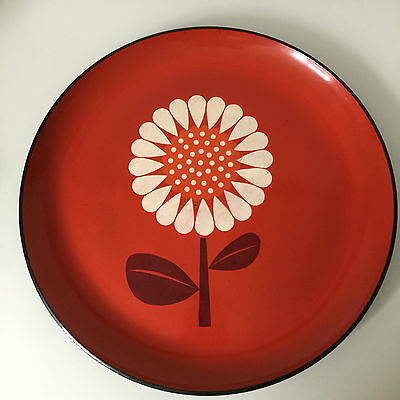 """Vintage Mid Century Serving TRAY 13"""" Lacquer Mod Sun Flower RED Danish Modern"""