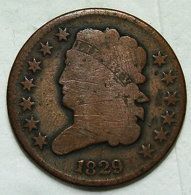 1829 1/2 Half Cent Liberty Head Coin Lot # A 1797
