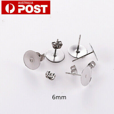 200pcs Earring Stud Posts 6mm Pads and backs Hypoallergenic Surgical Steel AU