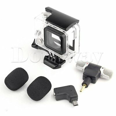 Skeleton Side Open Housing Case + Adapter Kit + Microphone For GoPro Hero 3+ 4