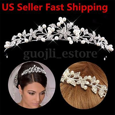 Wedding Bridal Princess Crystal Tiara Wedding Crown Veil Hair Accessory Silver