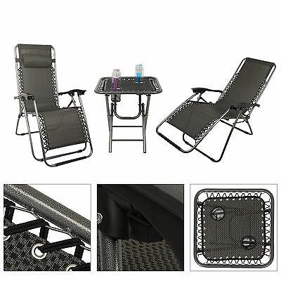 Sun lounger recliner Foldable sun chair set 2 loungers + a table with steel