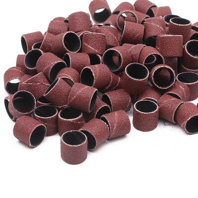"100pcs 1/2"" Sanding Bands Drums Sleeves for DREMEL Rotary Tools 80 120 180 Grit"