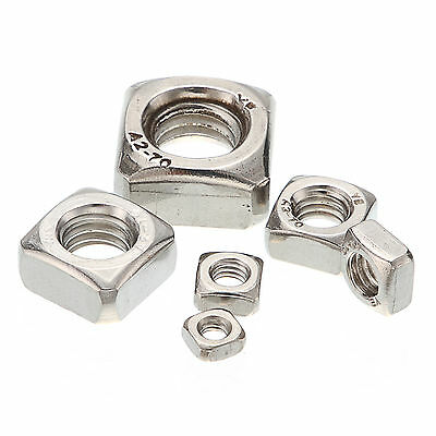 M4/M5/M6/M8/M10/M12 Stainless Steel A2 Square Nuts For Metric Screws Bolt Silver