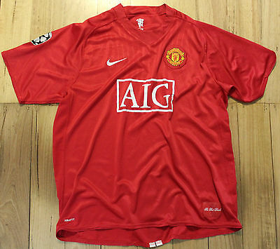 Manchester United Champions League Home Soccer Football Shirt Jersey Size 2XL