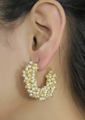 6260 Indian Bollywood Gorgeous Gold Plated Pearl Stone Design Earrings Jewelry
