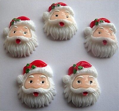 Gorgeous Father Xmas Santa Christmas Flatback Resin Cab Embellishments