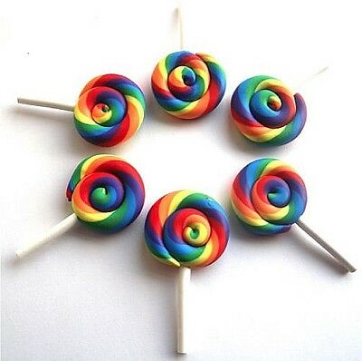 6 Gorgeous Rainbow Lollies Fimo Clay Cabochons Kawaii Decoden - Fast Shipping