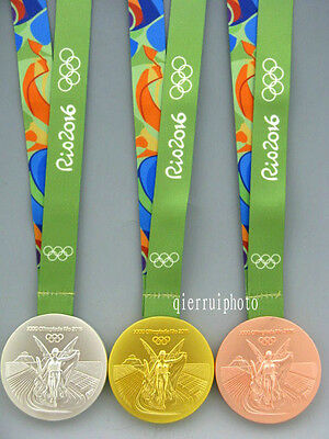 3 Rio 2016 Olympic Gold/Silver/Bronze Medals/Ribbons Full Set