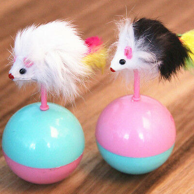 Funny Kids Cute Pet Cat Kitten Training Play Toy Mice Mouse Tumbler Ball