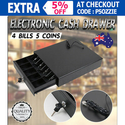 New Electronic Cash Drawer Box Cash Register 4 Bills 5 Coins POS Shop Office OZ