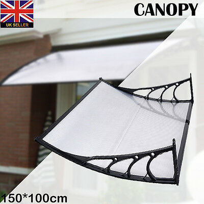 Door Canopy Awning Shelter Front Back Porch Outdoor Shade Cover 150*100Cm Black