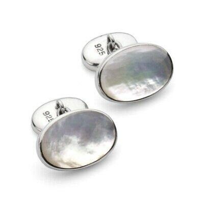 925 Sterling Silver Mother of Pearl Stone Classic Chain Link Cufflinks