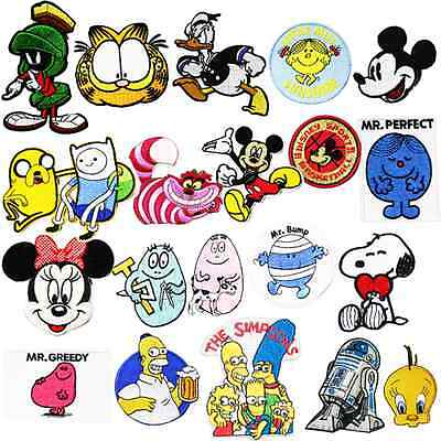 20 Cartoons Set Sew Embroidery Iron On Patch Badge Clothes Fabric Applique