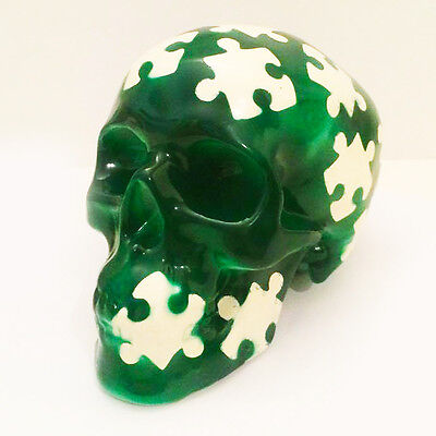 Green Jigsaw Skull Money Box | Collectable Skulls | Unusual Gift | Gothic Cool