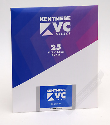 "Kentmere VC Select 5""x7"" B&W Darkroom Paper 25 Sheets Lustre Free 1st Class Post"