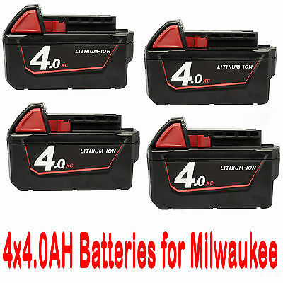 4x 18V 4.0Ah Red Lithium Ion XC 4.0 Battery For Milwaukee M18 M18B4 48-11-1828