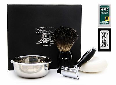 DE Safety Razor Gift Set Men In Black with Brush, Steel Bowl,FREE SOAP & BLADES.