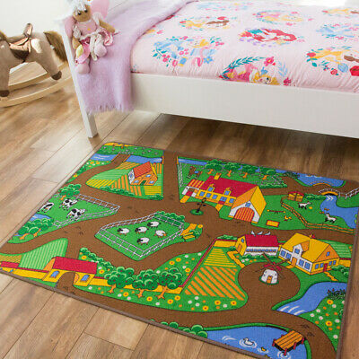 Childrens Farm Play Mat Green Tractor Mat Animals County Kids Play Rug Creche Uk