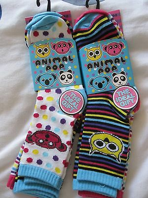 "BNWT - 6 PAIRS ""ANIMAL POP"" NOVELTY ANIMAL DES. ANKLE SOCKS -SIZE  6-8 and 9-12"