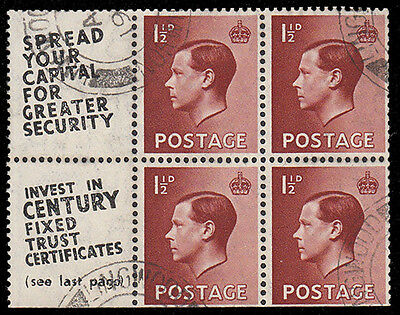 SG459a 1 1/2d. Block of 4. Rare used advert pane no. 11. Inverted watermark.