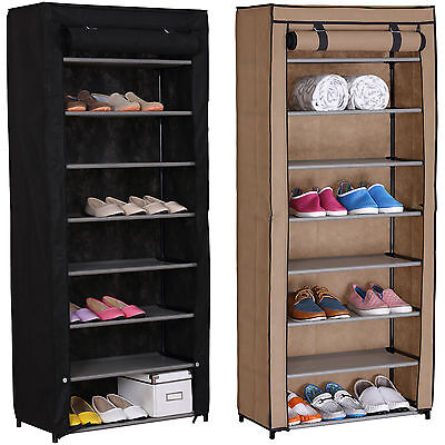 Dustproof 8 Tier Shoes Cabinet Rack Storage Organiser Stand Canvas Adjustable