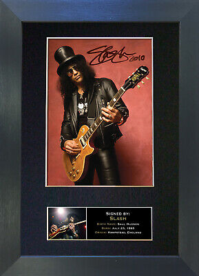 SLASH Guns & Roses Signed Mounted Autograph Photo Prints A4 95
