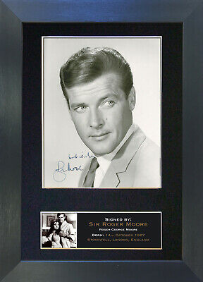 ROGER MOORE James Bond 007 Signed Mounted Autograph Photo Prints A4 274