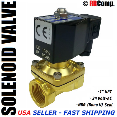 "1"" NPT 24-VOLT AC Brass Electric Solenoid Valve, Seal NBR: Air, Water, Oil N/C"
